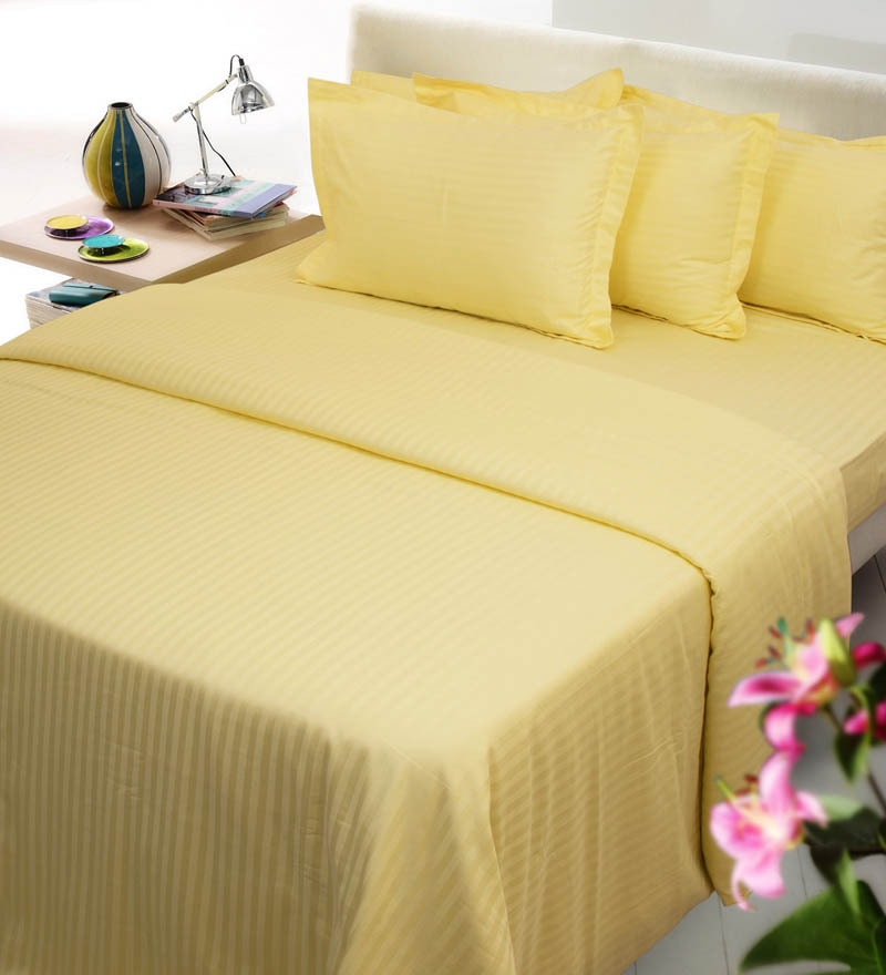 Yellows Solids Cotton Queen Size Fitted Bed Sheet Set - Set of 3 by Mark Home
