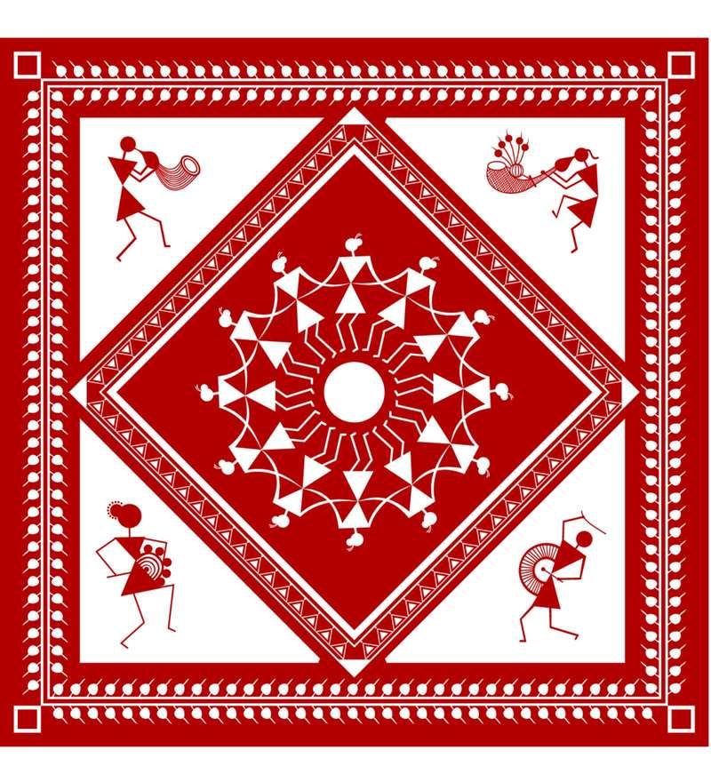 Maroon & White Cotton Canvas Warli Tribal Art Print by Wall Decor (Model No: WTA-73)