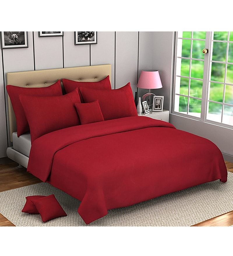 Maroon 100% Cotton Queen Size Bed Cover - Set of 5 by Soumya