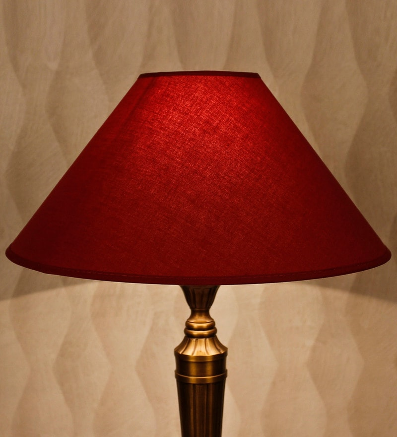 Maroon Cotton Conical Lamp Shade by Kapoor E Illuminations