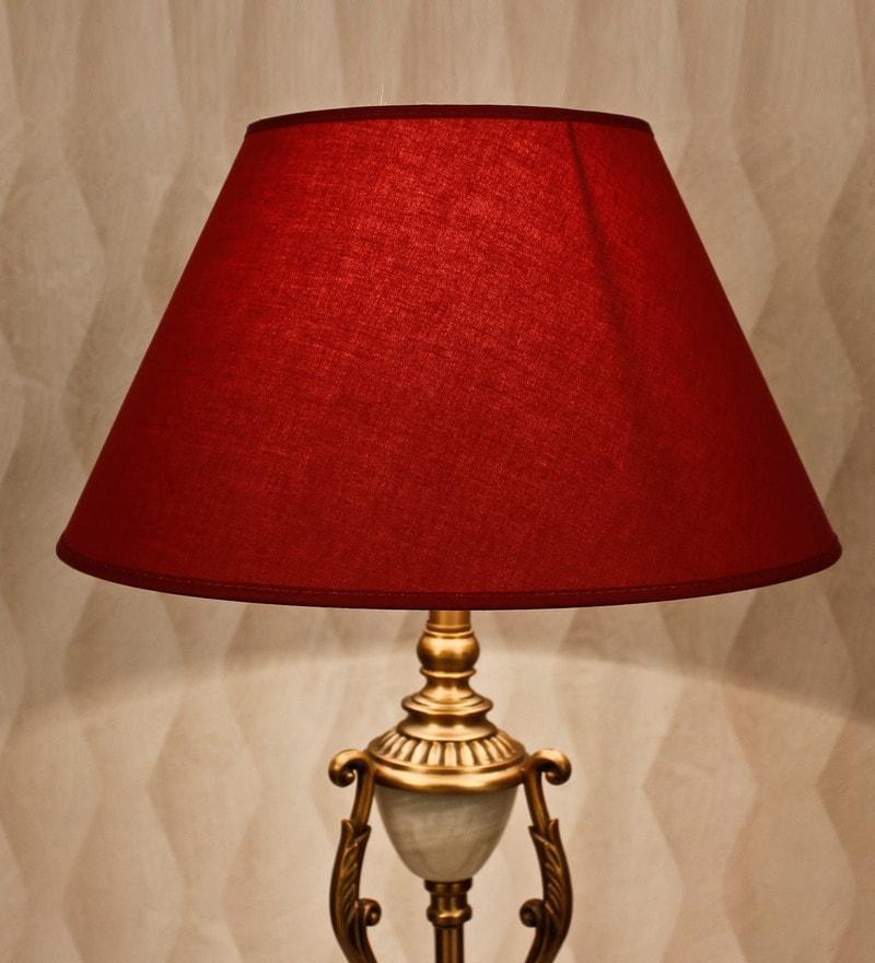 Maroon Cotton Empire Lamp Shade by Kapoor E Illuminations