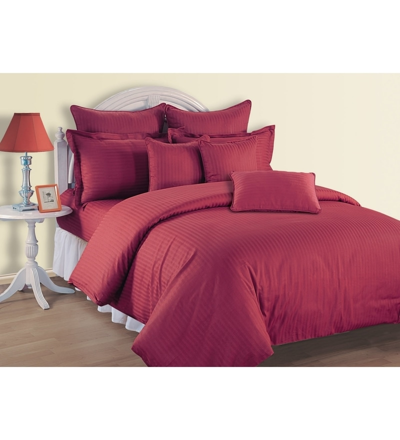 Maroon Cotton King Size Bedsheet - Set of 3 by Swayam