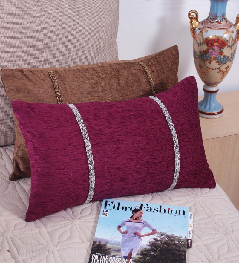Maroon Fabric 12 x 20 Inch Cushion Cover by Vista Home Fashion