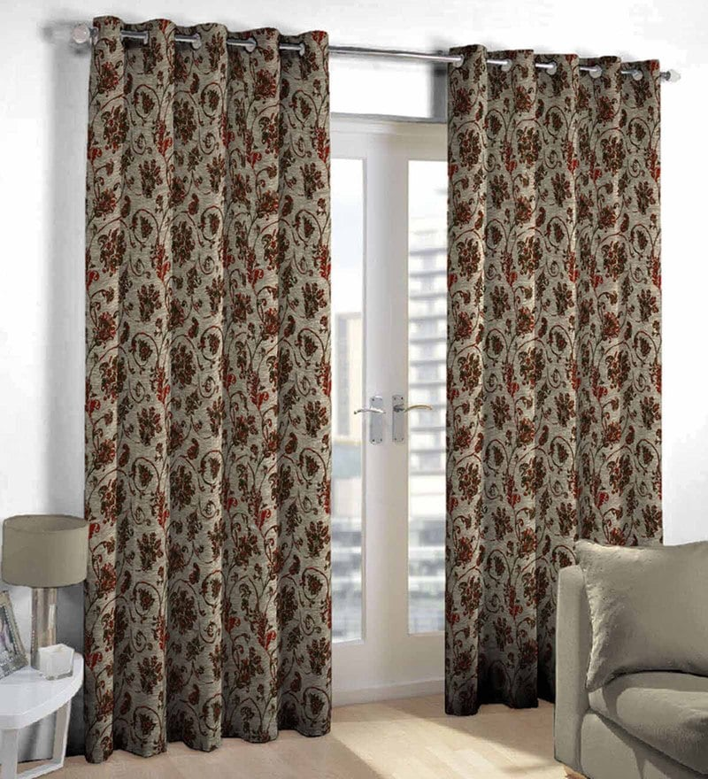Maroon Poly Cotton Door Curtain by Skipper