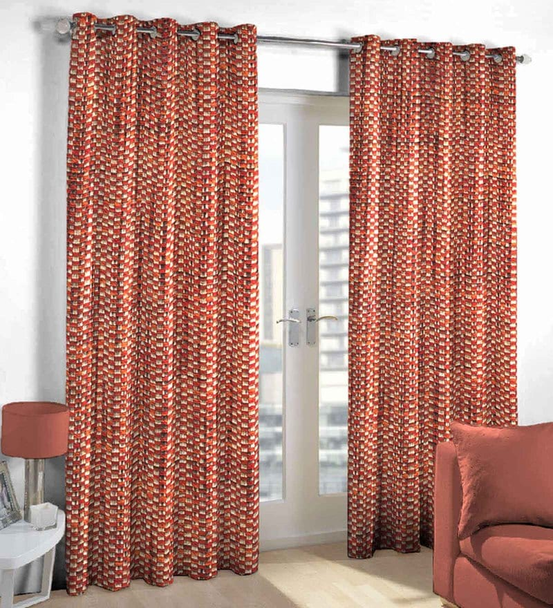 Maroon Poly Viscose Door Curtain by Skipper