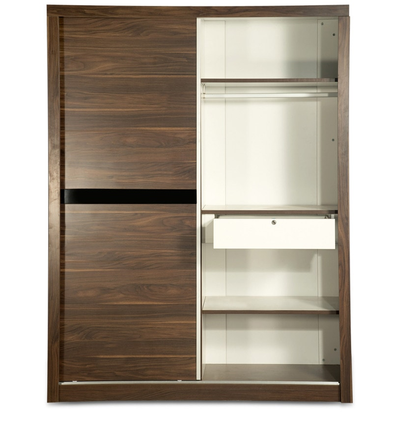 Buy Marshal Sliding Door Wardrobe In Dark Walnut Finish By