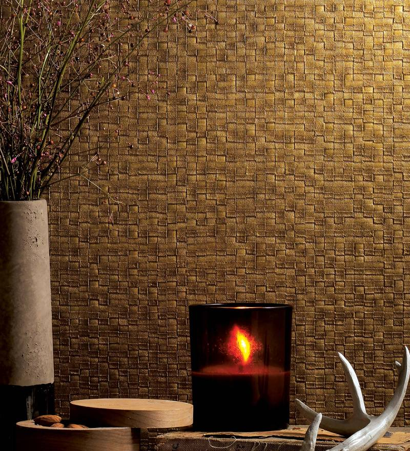 Gold & Brown Paper Backing Wallpaper by Marshalls WallCoverings