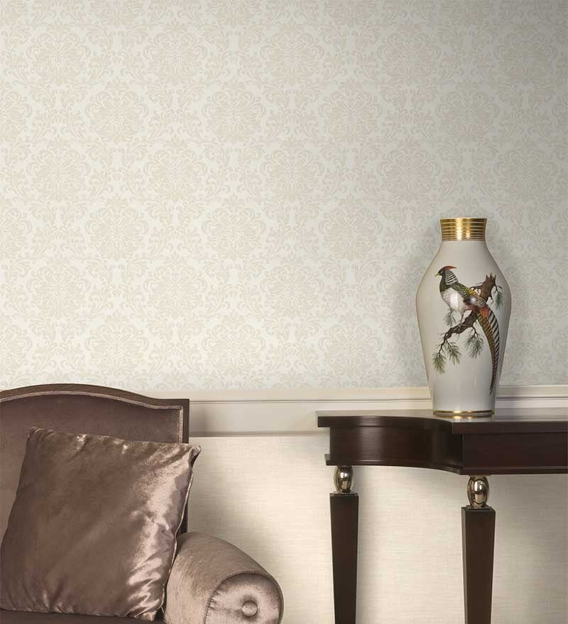 Beige Non Woven Fabric Faint Floral Wallpaper by Marshalls WallCoverings