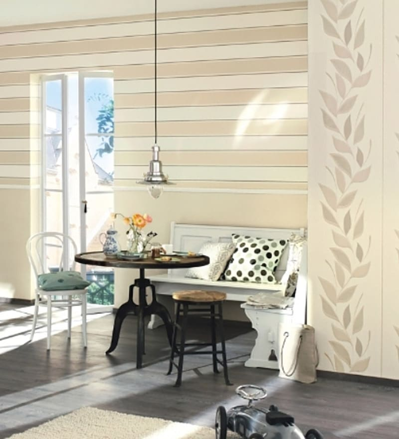 Cream Non Woven Fabric Stripes Wallpaper by Marshalls WallCoverings