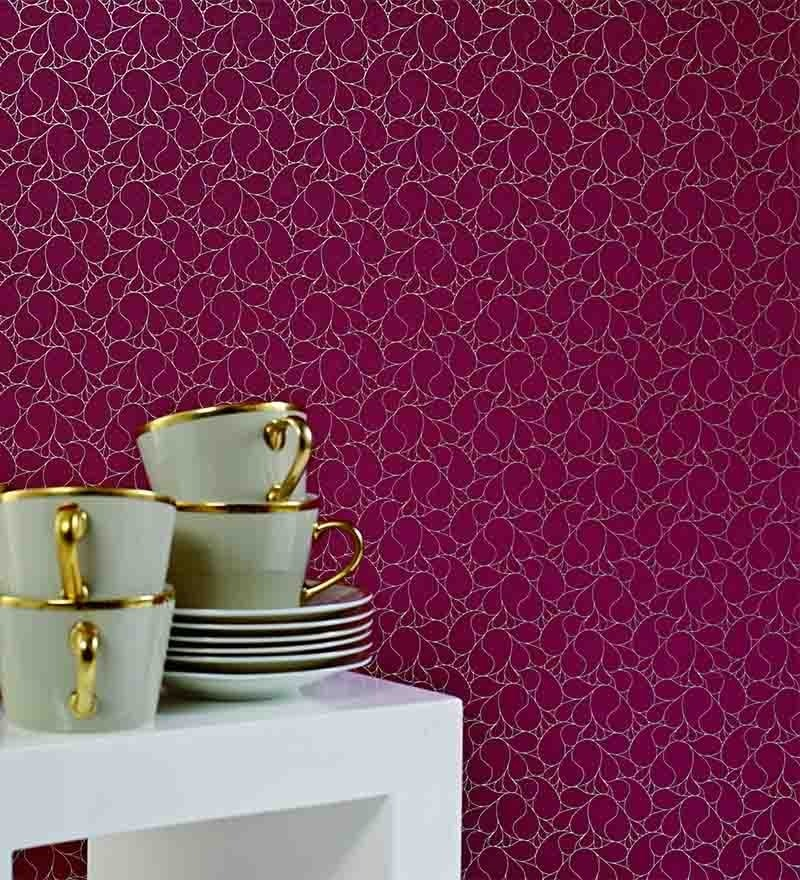 Red Non Woven Fabric Wallpaper by Marshalls WallCoverings