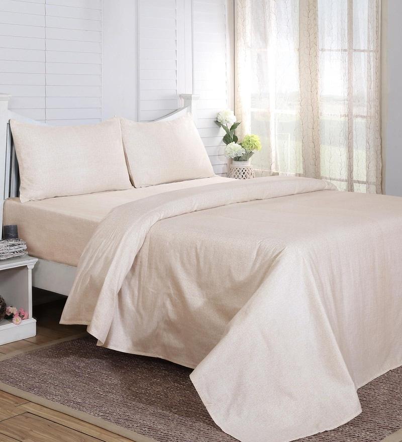 Beige 100% Cotton 108 x 108 Inch Carnival Prime King Bed Sheet - Set of 3 by Maspar