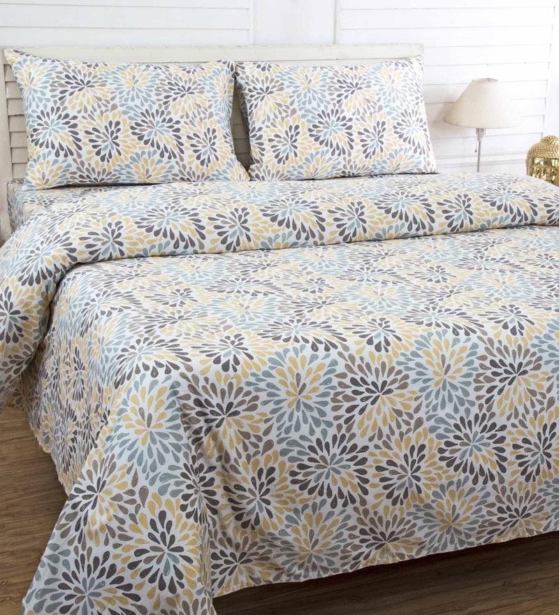 Maspar Beige 100% Cotton 90 x 108 Inch Bloom Pillow Cover - Set of 3