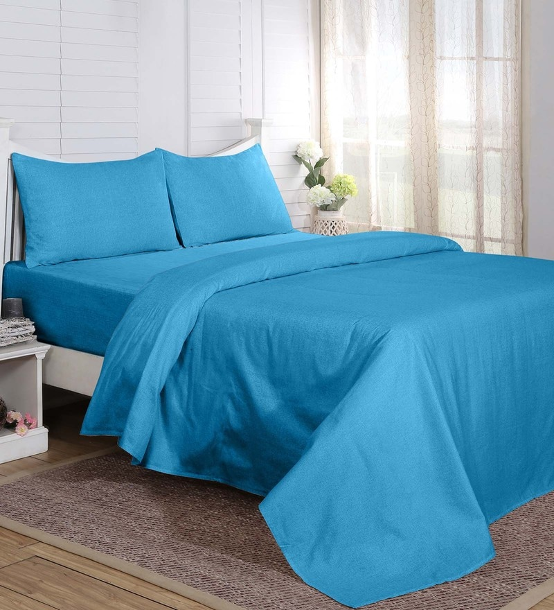 Maspar Blue 100% Cotton 108 x 108 Inch Carnival Prime King Bed Sheet with 2 Pillow Covers - Set of 3