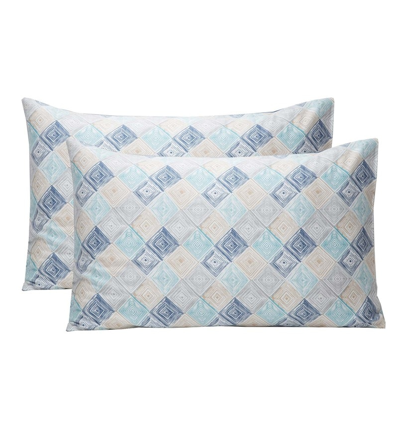 Maspar Blue 100% Cotton 20 x 30 Inch Clarissa Bricky Large Pillow Case - Set of 2