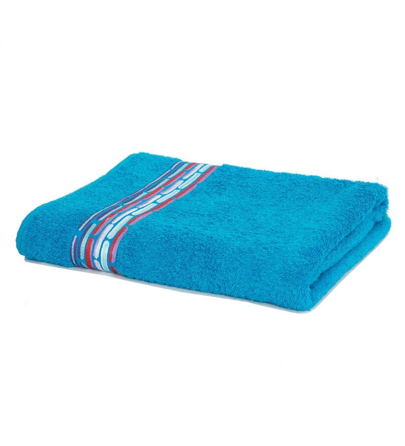Maspar Blue 100% Cotton 28 x 55 Inch Waltz Bequiling Print Medium Towel