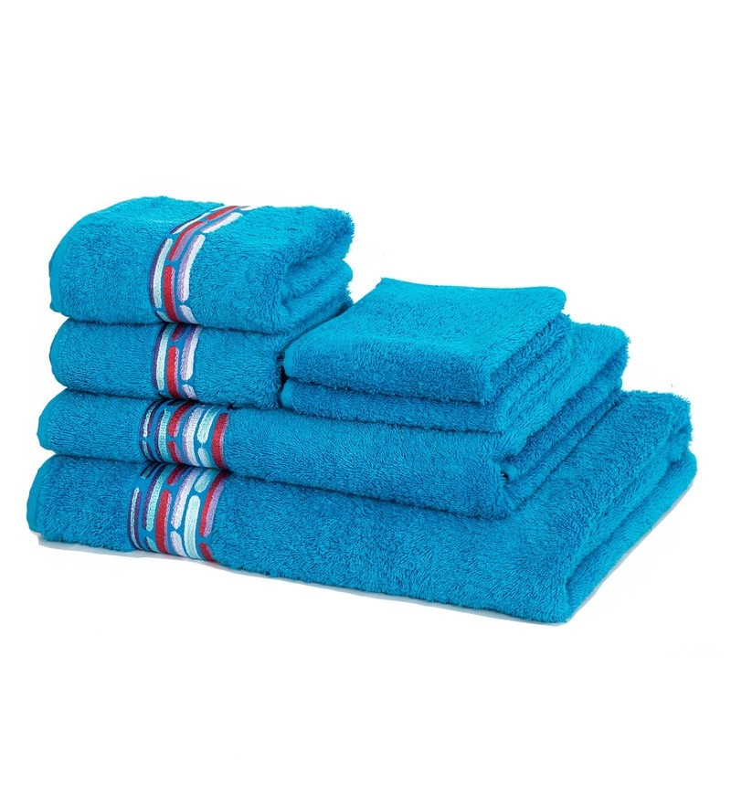 Maspar Blue 100% Cotton 28 x 55 Inch Waltz Bequiling Print Towel Set - Set of 6