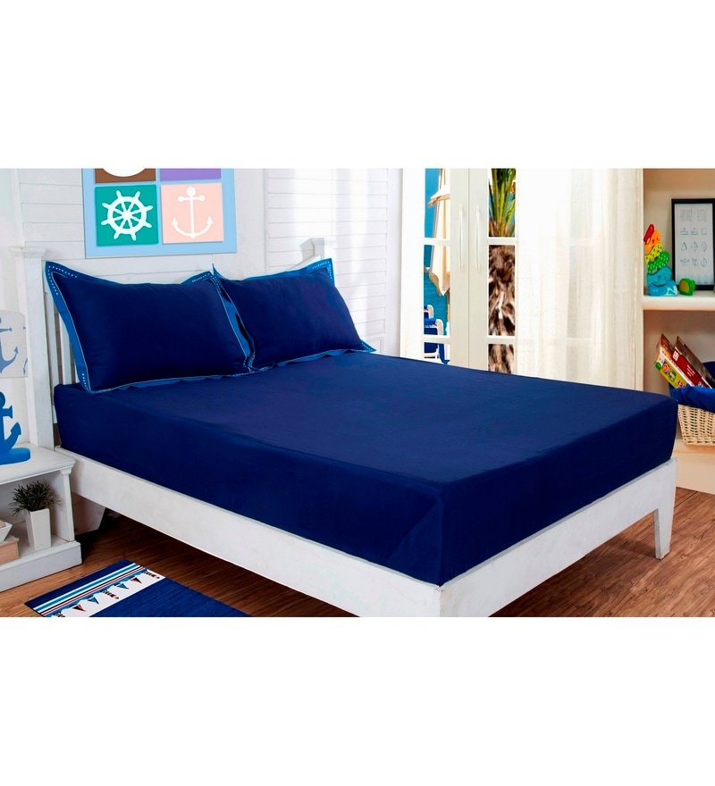 Navy Blue Cotton Solids 88 x 60 Inch Bed sheet by Maspar