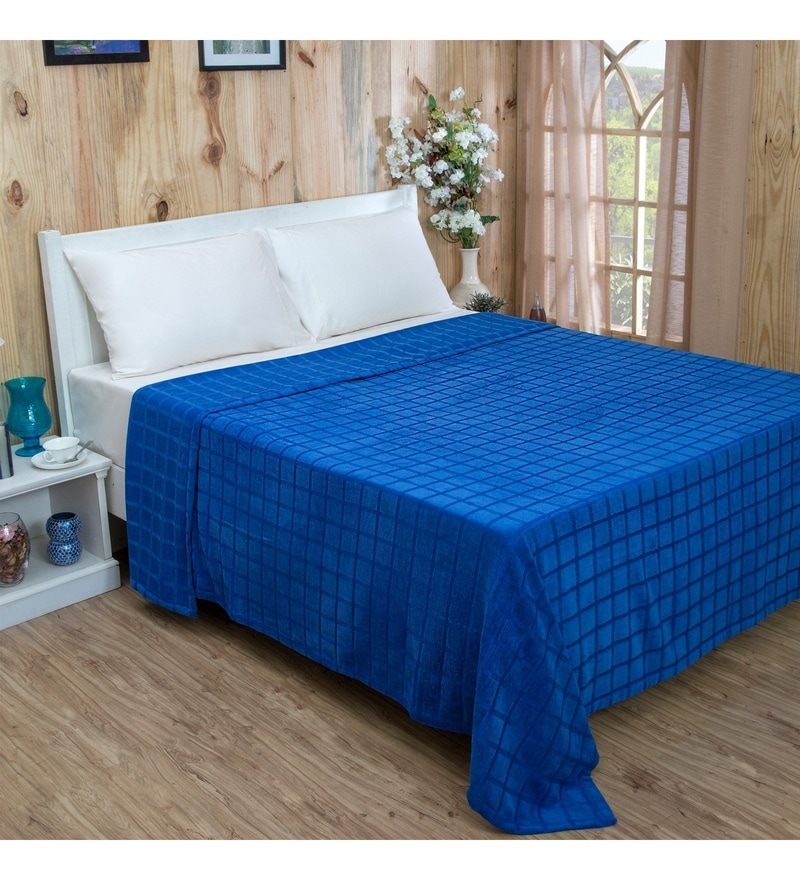 Blue Cotton and Viscose Single Size Bed Cover by Maspar