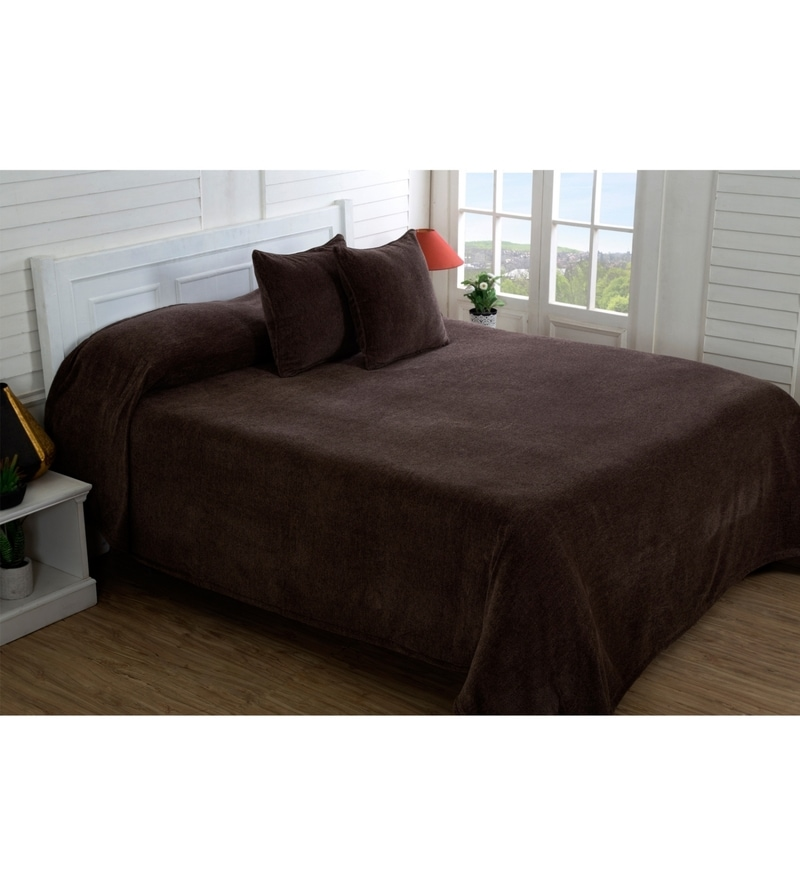 Brown 100% Cotton Single Size Bed Cover by Maspar