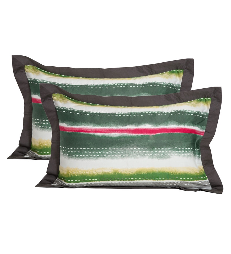 Maspar Multicolour 100% Cotton 20 x 30 Inch Waltz Large Pillow Case - Set of 2