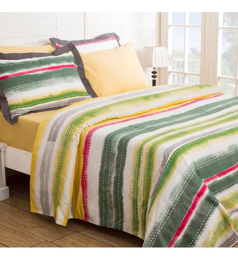 Maspar Multicolour 100% Cotton 94 x 87 Inch Waltz Double Duvet Cover with 2 Pillow Covers