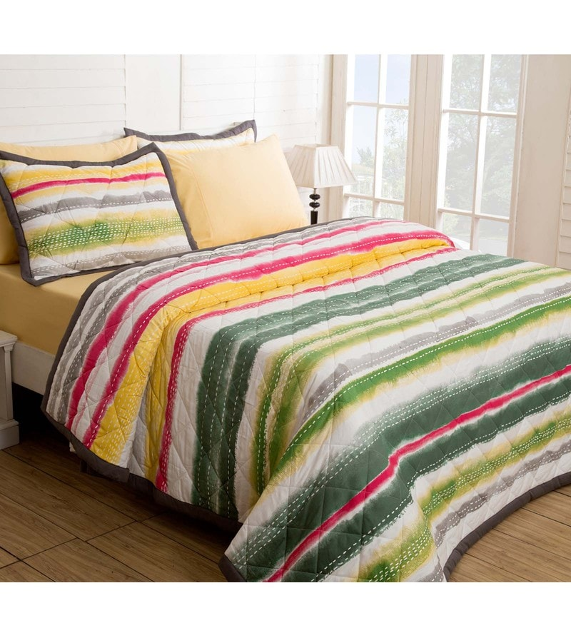 Maspar Green Cotton And Polyester 102 x 98 Inch Waltz Double Quilt
