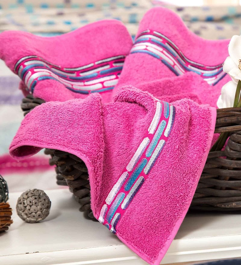Maspar Pink 100% Cotton 28 x 55 Inch Waltz Bequiling Print Medium Towel