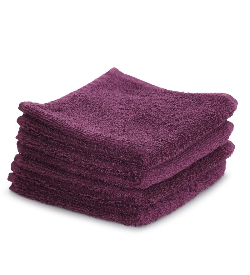 Maspar Purple 100% Cotton 12 x 12 Inch Carnival Prime Face Towel Set - Set of 4