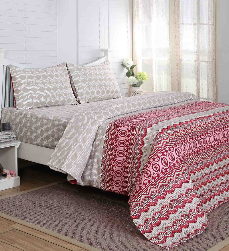 Red 100% Cotton 60 x 90 Inch Carnival Prime Single Bed Sheet - Set of 2 by Maspar