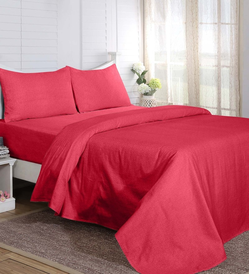Maspar Red 100% Cotton 60 x 90 Inch Carnival Prime Single Bed Sheet with 1 Pillow Cover - Set of 2