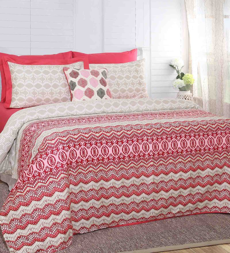 Maspar Red 100% Cotton 88 x 96 Inch Carnival Prime Double Duvet Cover with 2 Pillow Covers - Set of 3
