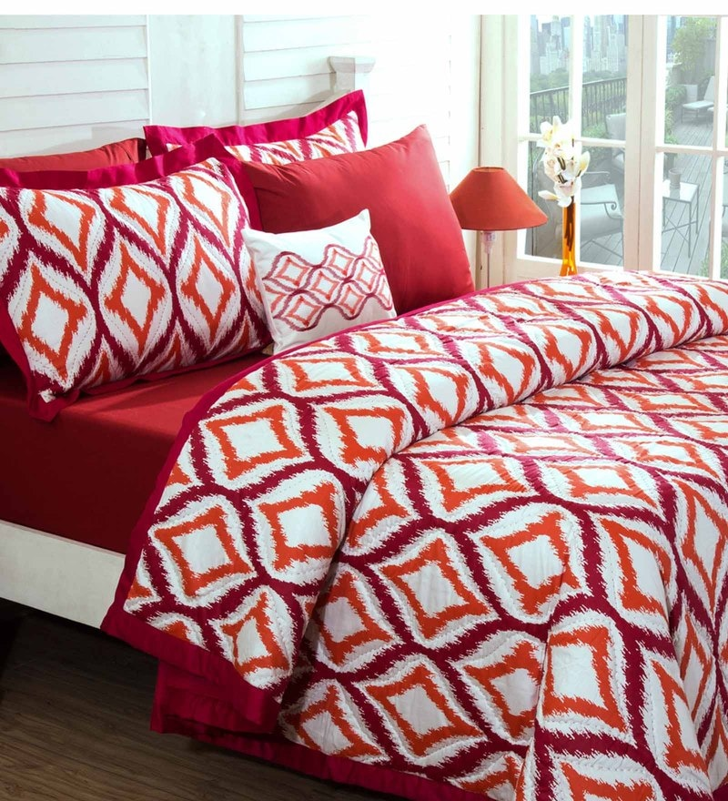 Maspar Red 100% Cotton 98 x 102 Inch Spring Solitaire Smart Fuzz Double Quilt