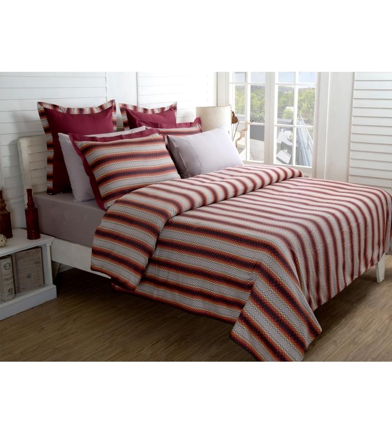 Red 100% Cotton Single Size Duvet Cover - Set of 2 by Maspar