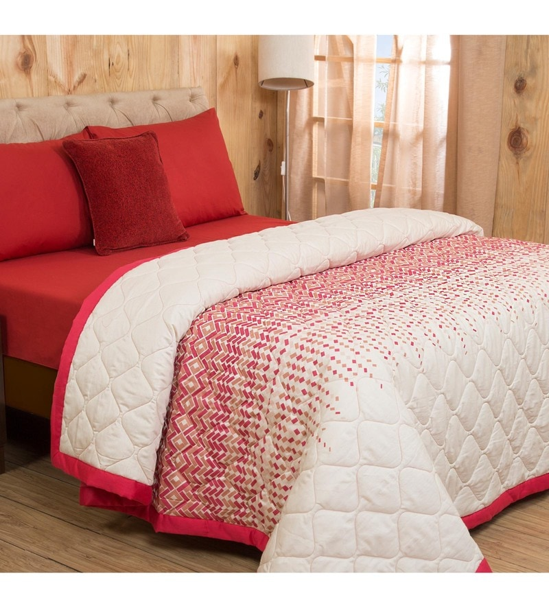 Maspar Red Cotton And Polyester 102 x 90 Inch Clarissa Winsome Double Quilt Set - Set of 7