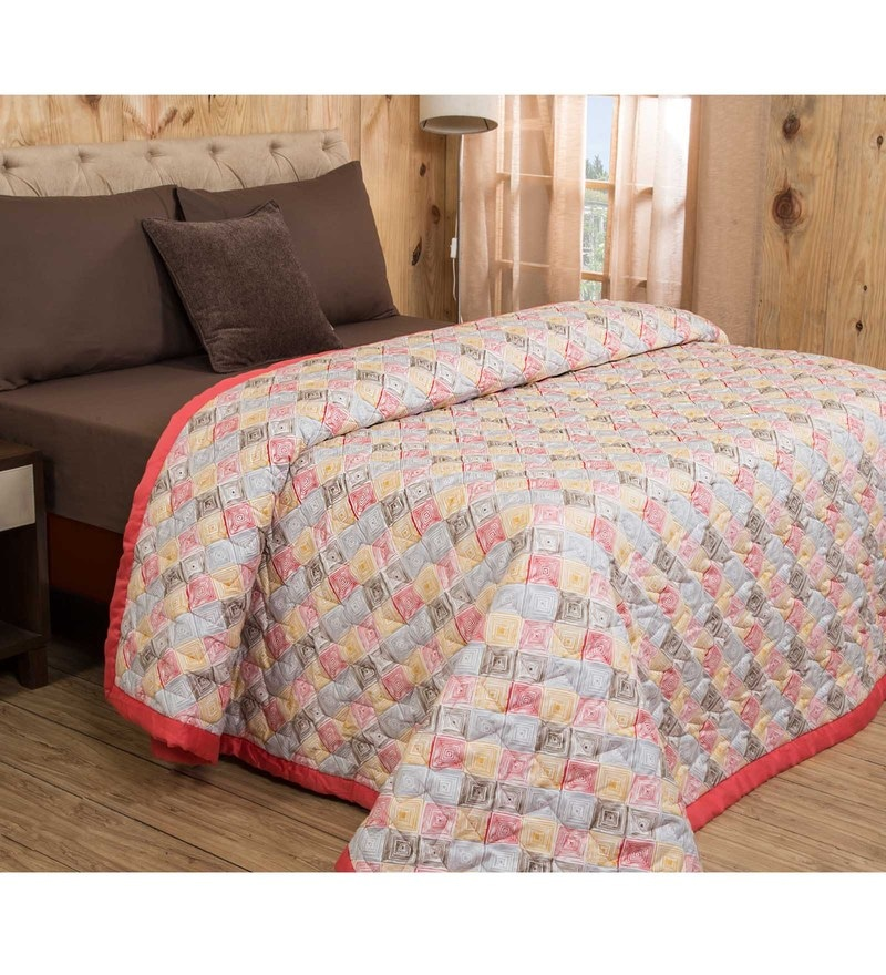 Maspar Red Cotton And Polyester 98 x 60 Inch Clarissa Bricky Single Quilt