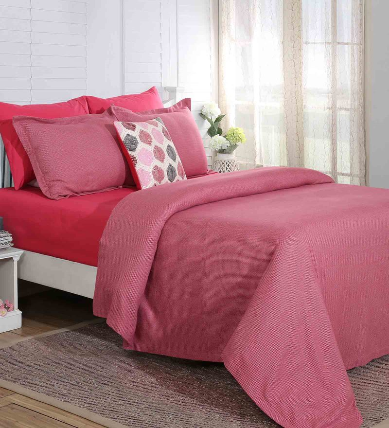Red Cotton And Viscose 108 x 90 Inch Carnival Prime Double Bed Cover by Maspar