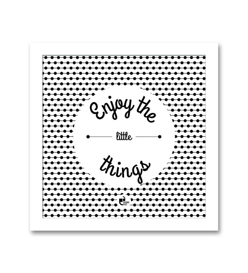 Matte 8.5 x 0.5 x 8.5 Inch Enjoy the little things White Square Framed Poster by Thinkpot