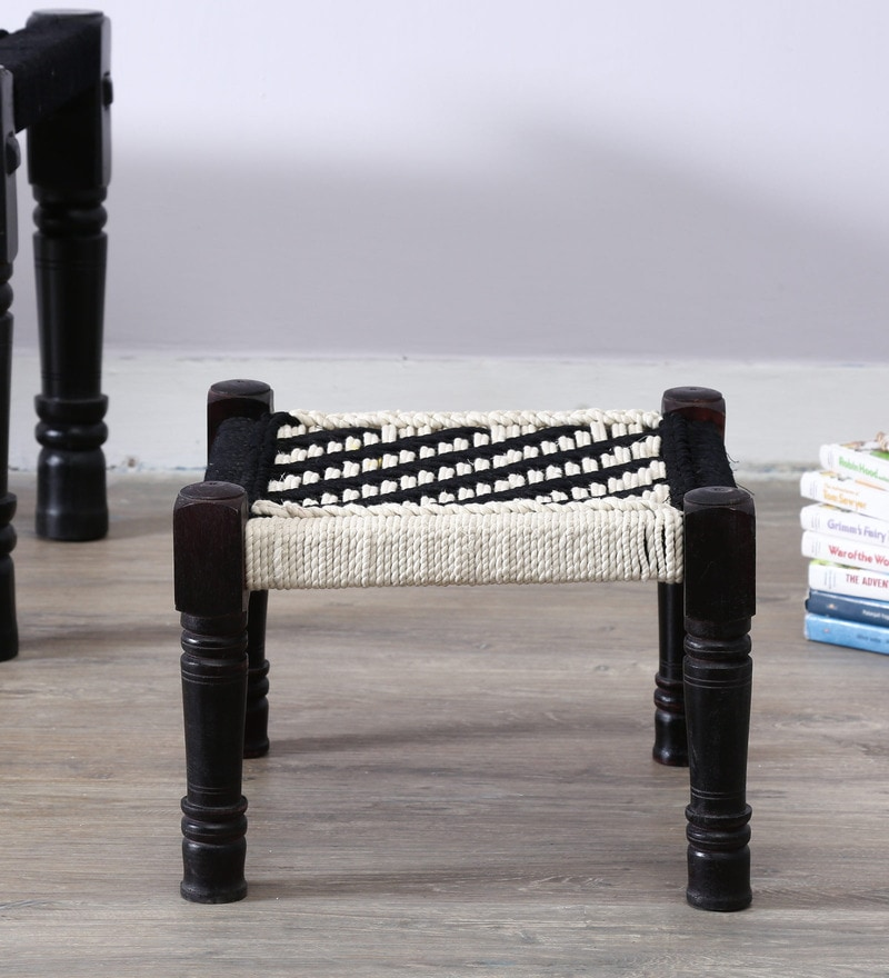 Vyuti Stool with Weaving Work by Mudramark