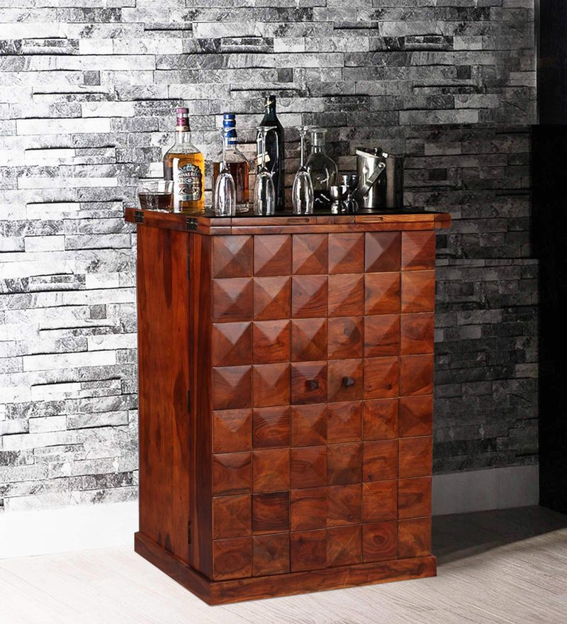 Mayville Large Bar Cabinet in Honey Oak Finish by Woodsworth