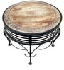 Mango Wood & Wrought Iron Round Coffee Table Set with Two Chairs by Saaga