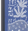 Manomay Kreations Blue Canvas 3 Houses & Merry Making Framed Warli Painting