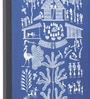 Blue Canvas Cooking for Family Framed Warli Painting by Manomay Kreations