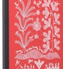 Manomay Kreations Red Canvas 2 Bullock Carts with Villagers Framed Warli Painting