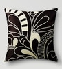 Mapa Home Care Black & White Duppioni 16 x 16 Inch Silk Embroidered Cushion Cover