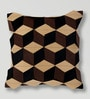 Mapa Home Care Brown Duppioni 16 x 16 Inch Silk Patchwork Cushion Cover