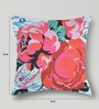 Multicolor Duppioni 16 x 16 Inch Floral Cushion Cover by Mapa Home Care