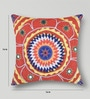 Multicolor Duppioni 16 x 16 Inch Mirror Work Cushion Cover by Mapa Home Care