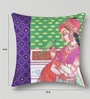 Mapa Home Care Multicolor Duppioni 16 x 16 Inch Printed Heritage Cushion Cover