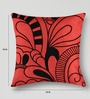 Mapa Home Care Red & Black Duppioni 16 x 16 Inch Embroidered Cushion Cover