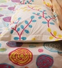 Mark Home Pink & Yellow Cotton Abstract Bed Sheet (with Pillow Covers) - Set of 3